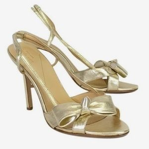 Kate Spade Gold Heels Bow 8M Sling